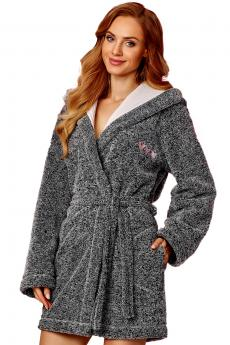 Woman bathrobe 8121 melange-pink