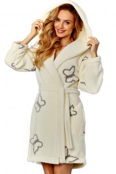 Woman bathrobe 8129 ecru-grey