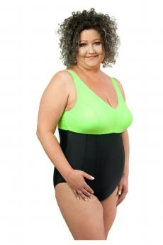Woman one piece swimsuit 1021 black-green