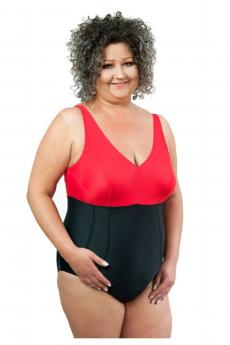 Woman one piece swimsuit 1021 black-red