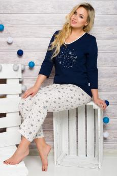 Women's plus size pajama 146 blue-ecru